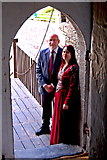 R4560 : Bunratty Castle - Greeters at Castle Entrance Door by Joseph Mischyshyn