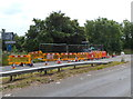 SO7100 : Road works at the SW edge of A38 railway bridge by Jaggery