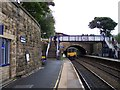 SD9904 : Huddersfield train leaves Greenfield railway station by Raymond Knapman