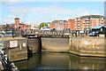 SS6692 : Entrance lock to Tawe Basin marina, Swansea by Chris Allen