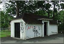 NT2273 : Roseburn Park toilets by Thomas Nugent