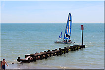 TQ8109 : Catamaran past Pelham Beach outfall by Oast House Archive