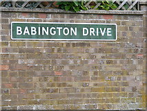 TM3876 : Babington Drive sign by Adrian Cable