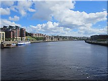 NZ2564 : Looking downstream from the Gateshead Millennium Bridge by Graham Robson