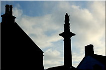 R3377 : Ennis - Friary Car Park - Daniel 'O'Connell Monument and rooftop silhouettes by Joseph Mischyshyn