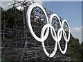 TQ1751 : Scaffolding and Olympic Rings by Colin Smith