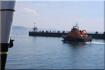 SY6878 : Weymouth lifeboat passes the South Pier by Roger Davies