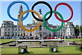 ST1876 : Olympic Rings and Cardiff City Hall by Philip Halling