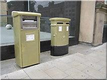 SE2933 : Gold Post Boxes, The Headrow / Cookridge Street, Leeds (1) by Rich Tea