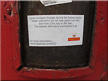 TQ2081 : Post box - no collection during Olympics by David Hawgood