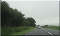 NY7317 : A66 approaching Warcop turning by John Firth