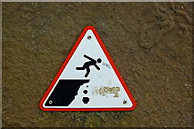 R0392 : Cliffs of Moher - NW path along Cliffs - Cliff Warning Sign by Joseph Mischyshyn