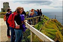 R0392 : Cliffs of Moher - O'Brien's Tower & Visitors at Upper End of NW path along Cliffs by Joseph Mischyshyn