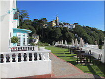 SH5837 : Portmeirion Hotel terrace and The Village by John S Turner