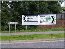 TM3877 : Roadsigns on Roman Way by Adrian Cable