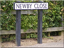 TM3877 : Newby Close sign by Adrian Cable