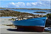 NB0936 : Blue boat on the slipway at Bhaltos by David Martin