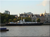 TQ3180 : View of HMS President from the South Bank by Robert Lamb