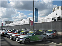 TQ3884 : BMW Tourers and Cycle Holders. Olympic Park by David Anstiss