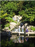 TQ2479 : The waterfall in the Kyoto Garden in Holland Park by Rod Allday