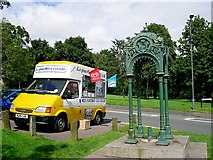 ST5673 : Ice cream van and disused drinking fountain, Clifton Down by Rose and Trev Clough