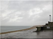 SY6873 : Chesil Cove in the rain by Stefan Czapski