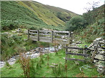 SJ0124 : Footbridge high up in Cwm Llech by Jeremy Bolwell