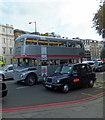 TQ2879 : Silver Routemaster Bus in Knightsbridge by PAUL FARMER