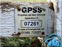 TQ1562 : GPSS marker plate by Robin Webster
