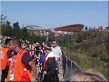 TQ3785 : Looking up to the Velodrome, Olympic Park E15 by Robin Sones