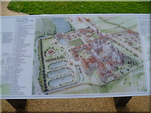TQ4109 : Information board showing Lewes Priory in its heyday by Marathon