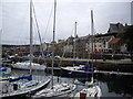 NJ6864 : Banff harbour with yachts by Stanley Howe