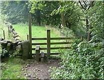 SE0026 : Stile on Hebden Royd FP17 (Burlees Wood branch) by Humphrey Bolton