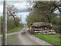SP2285 : Log pile on a verge at a minor road junction by Robin Stott