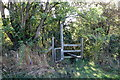 SP8029 : Stile on path down to the old railway line by Philip Jeffrey