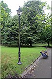 SJ3787 : Lamp and Bench, Sefton Park, Liverpool by El Pollock