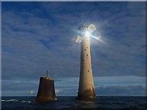 SX3833 : The sun glints on the solar panels on Eddystone lighthouse by Steve  Fareham