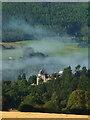 NN9457 : Morning mist clears from the Atholl Palace Hotel, Pitlochry by Karl and Ali