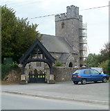 SN7634 : Lych gate, St Dingat's Parish Church, Llandovery by Jaggery