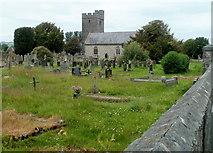 SN7634 : SE edge of St Dingat's churchyard, Llandovery by Jaggery