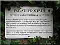 SU9566 : Private footpath notice, Priory Road by Mike Quinn