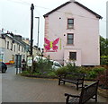 SN8746 : Pink butterfly on a pink wall, Llanwrtyd Wells by Jaggery