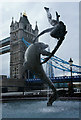 TQ3380 : Girl With a Dolphin, Tower Bridge, London by Peter Trimming