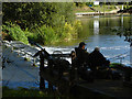 TQ0469 : Fishermen, Penton Hook weir by Alan Hunt