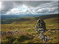NY7424 : Cairn above Trundale Gill looking over the Eden Valley by Karl and Ali