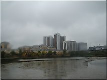 TQ3980 : View of blocks of flats near East India Quay from East India Dock Basin #3 by Robert Lamb