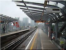 TQ3880 : View of Canary Wharf from East India Dock station by Robert Lamb