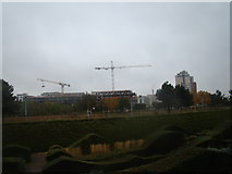 TQ4179 : View of flats under construction on the site of the old iron works near Thames Barrier Park by Robert Lamb