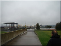TQ4179 : View of the Thames Barrier from the path through Thames Barrier Park by Robert Lamb