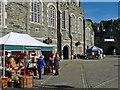 SX4874 : Stalls outside Tavistock Town Hall by Robin Drayton